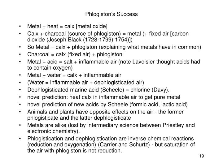 Phlogiston's Success
