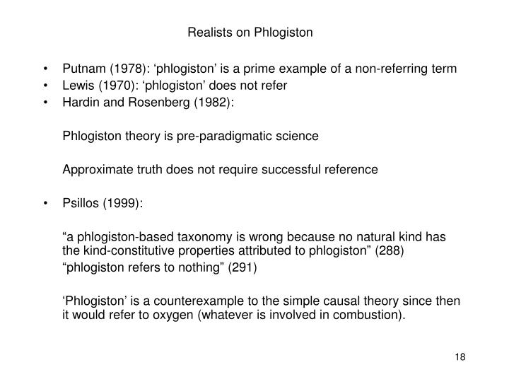 Realists on Phlogiston