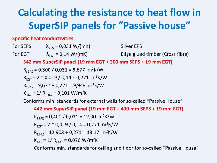 """Calculating the resistance to heat flow in SuperSIP panels for """"Passive house"""""""