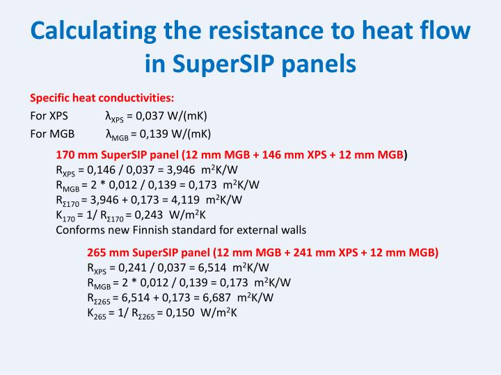 Calculating the resistance to heat flow in SuperSIP panels