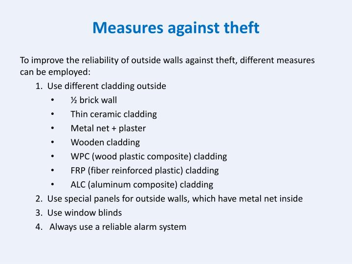 Measures against theft