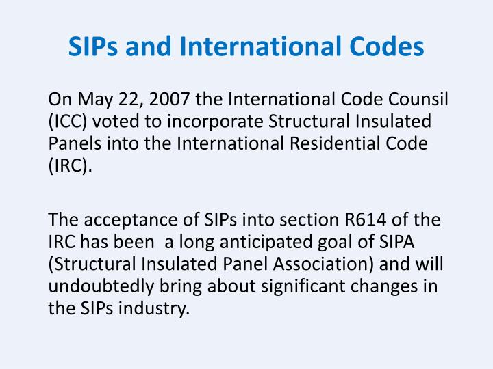 SIPs and International Codes