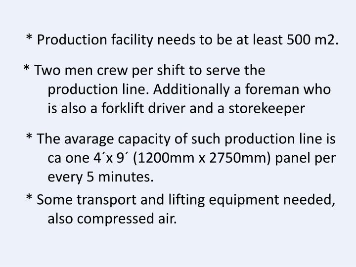 * Production facility needs to be at least 500 m2.