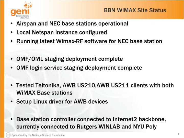 BBN WiMAX Site Status