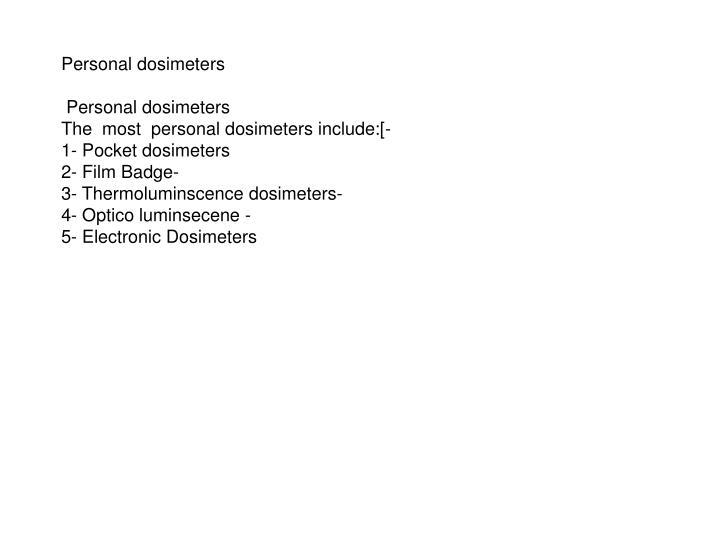 Personal dosimeters