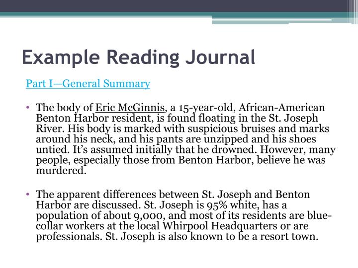 Example Reading Journal