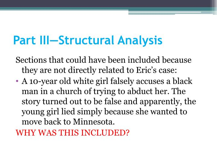 Part III—Structural Analysis