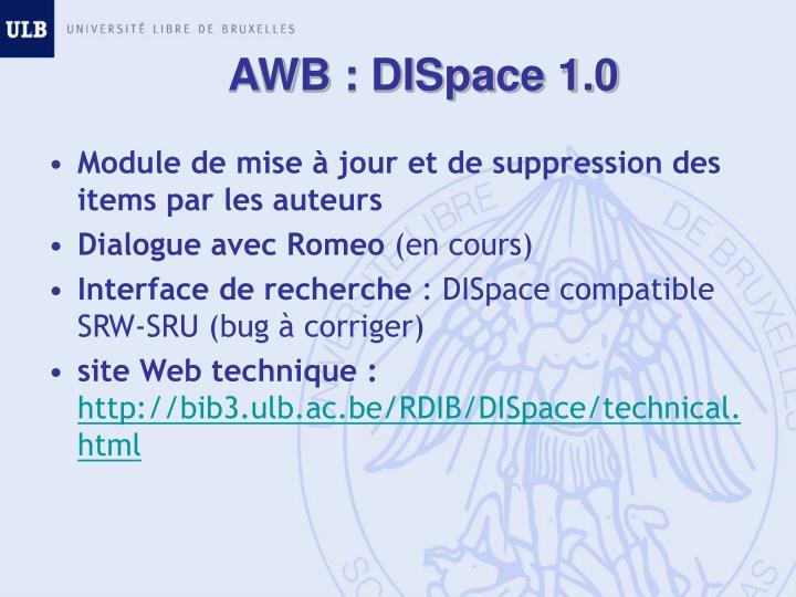 AWB : DISpace 1.0