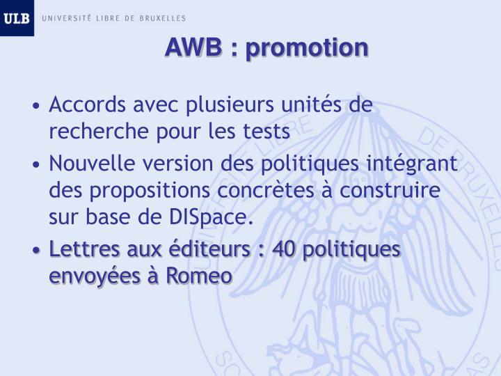 AWB : promotion