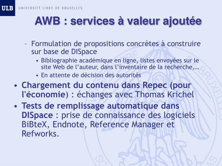 AWB : services à valeur ajoutée