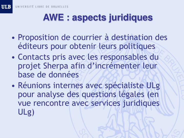 AWE : aspects juridiques
