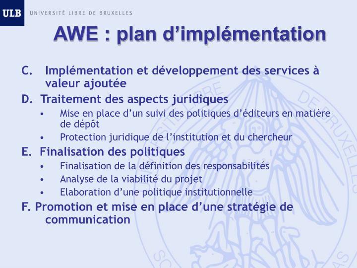 AWE : plan d'implémentation