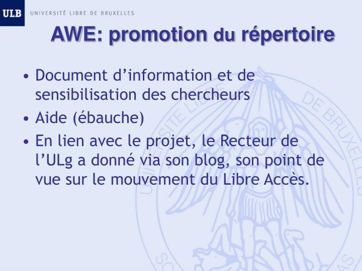 AWE: promotion