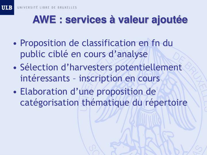 AWE : services à valeur ajoutée
