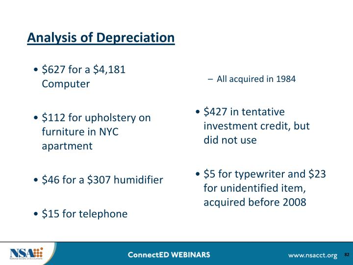 Analysis of Depreciation