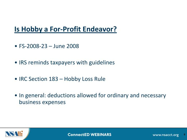 Is Hobby a For-Profit Endeavor?