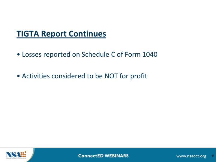 TIGTA Report Continues
