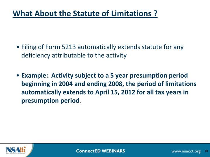 What About the Statute of Limitations ?