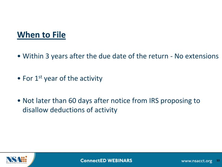 When to File