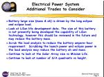 electrical power system additional trades to consider