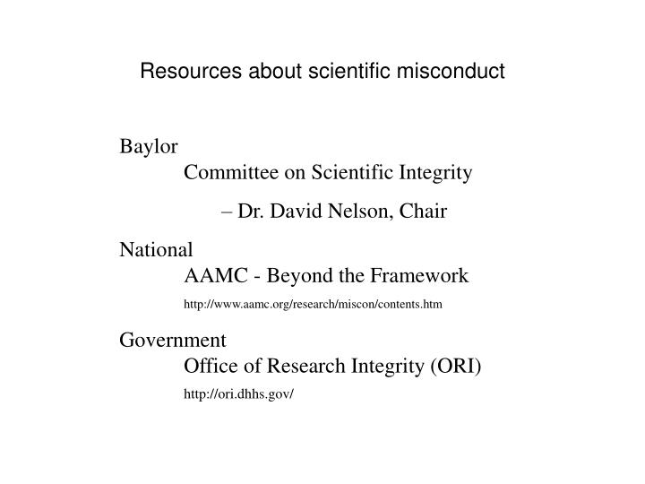 Resources about scientific misconduct