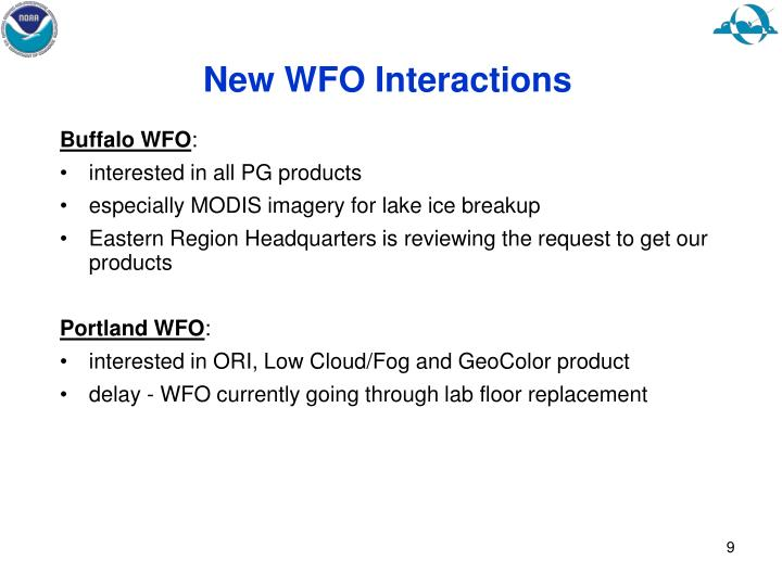 New WFO Interactions