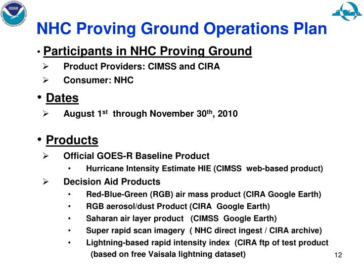 NHC Proving Ground Operations Plan