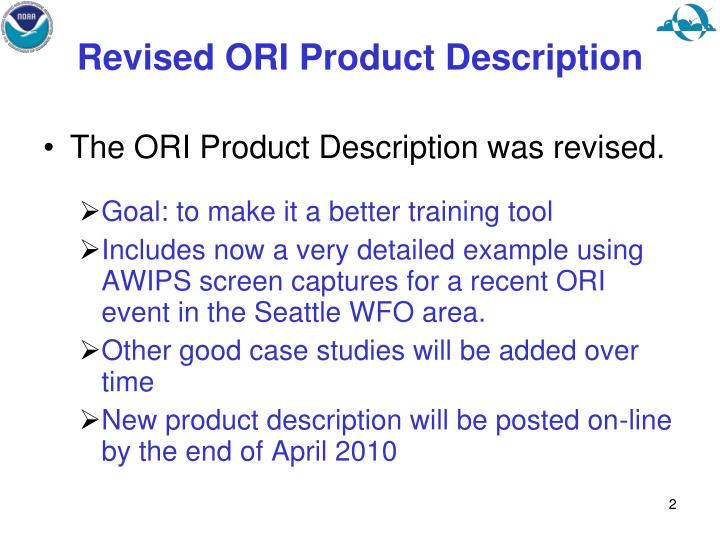 Revised ORI Product Description