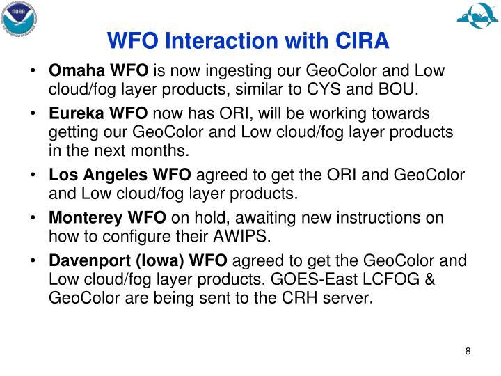 WFO Interaction with CIRA
