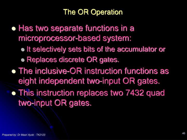 The OR Operation