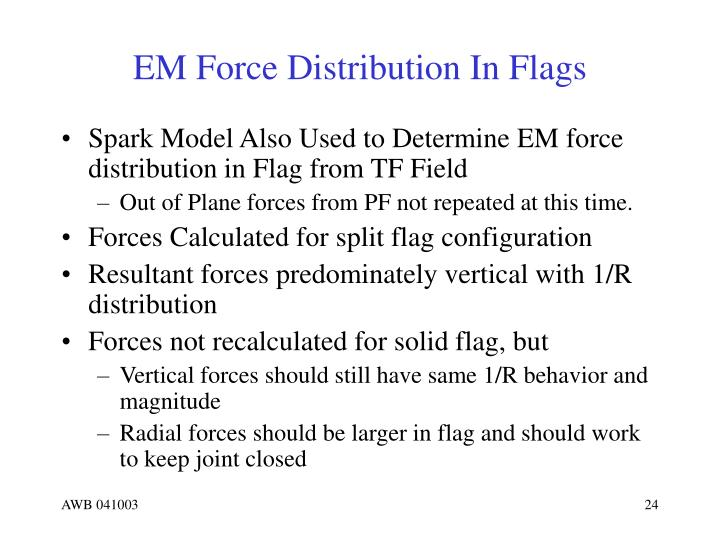 EM Force Distribution In Flags