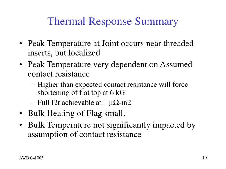 Thermal Response Summary