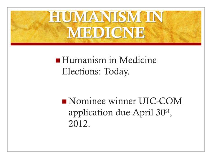 HUMANISM IN MEDICNE