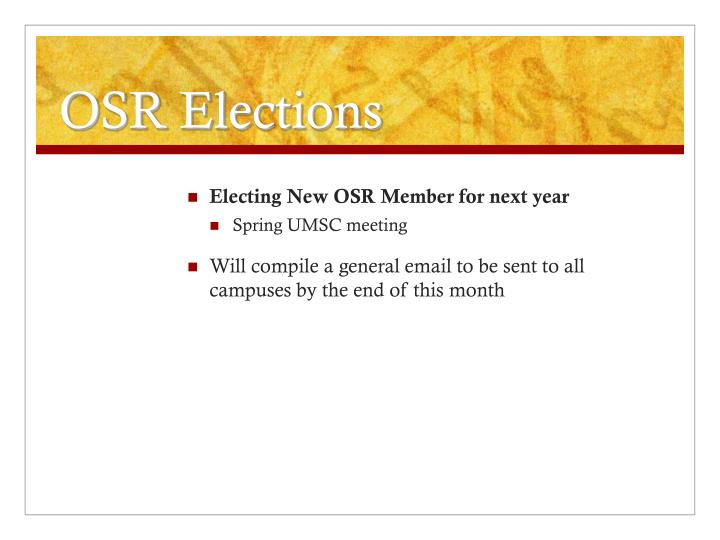 OSR Elections
