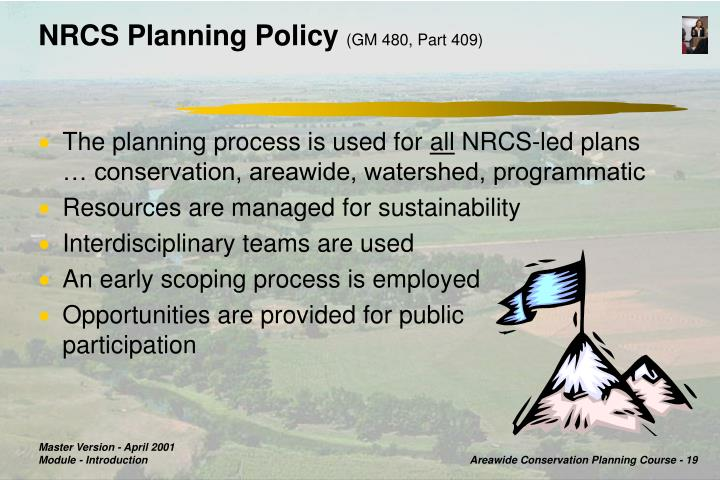 NRCS Planning Policy