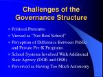 challenges of the governance structure