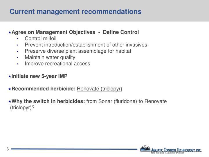 Current management recommendations