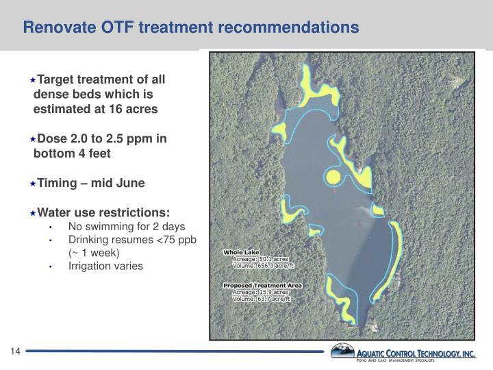 Renovate OTF treatment recommendations