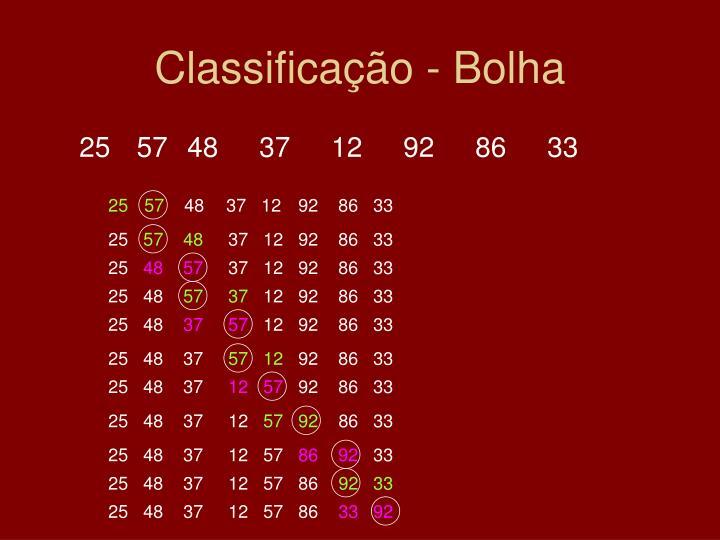 Classificação - Bolha