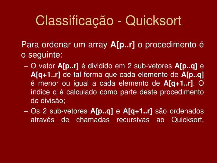 Classificação - Quicksort