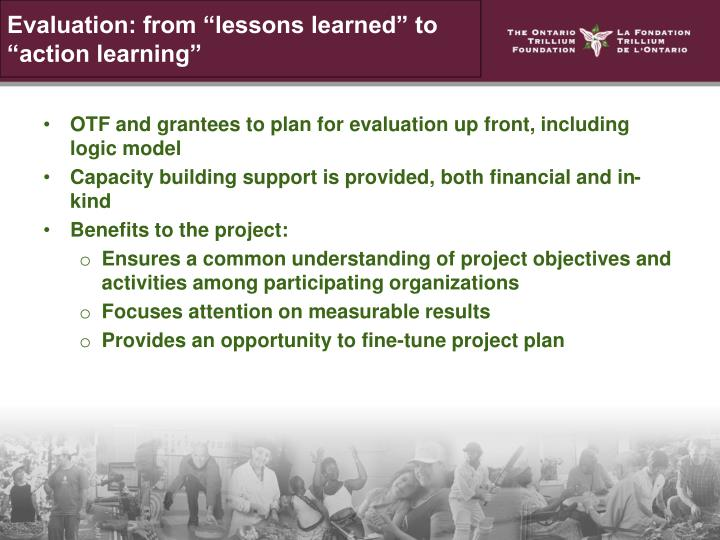"""Evaluation: from """"lessons learned"""" to """"action learning"""""""