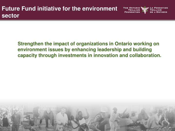 Strengthen the impact of organizations in Ontario working on environment issues by enhancing leadership and building capacity through investments in innovation and collaboration.