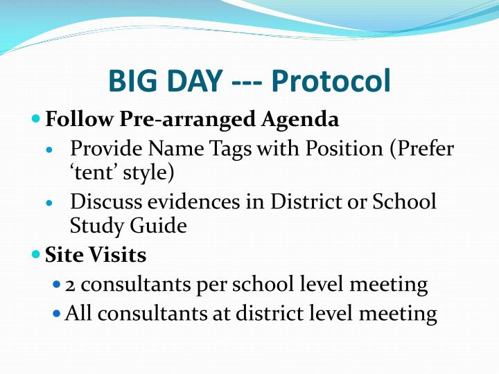 BIG DAY --- Protocol
