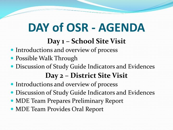 DAY of OSR - AGENDA