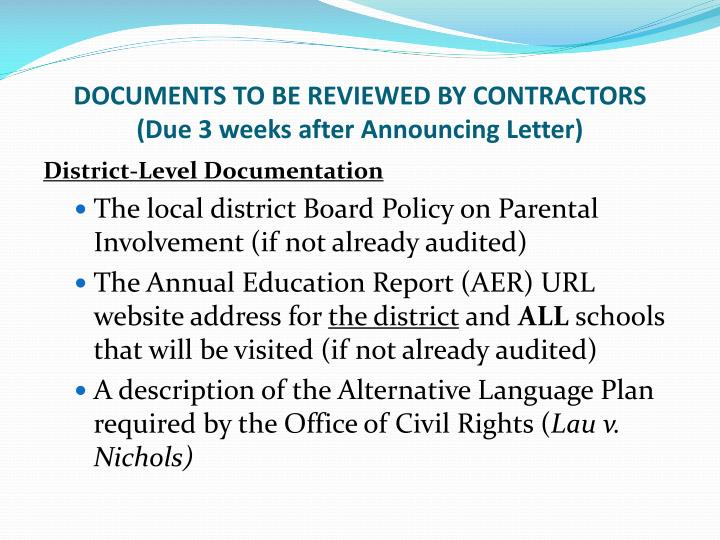 DOCUMENTS TO BE REVIEWED BY CONTRACTORS