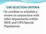 osr selection criteria1