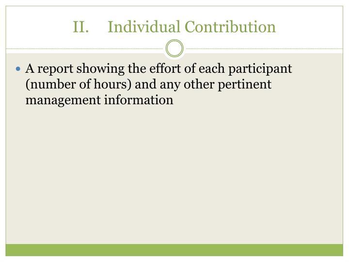 II.Individual Contribution