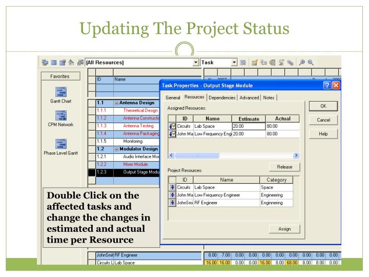 Updating The Project Status