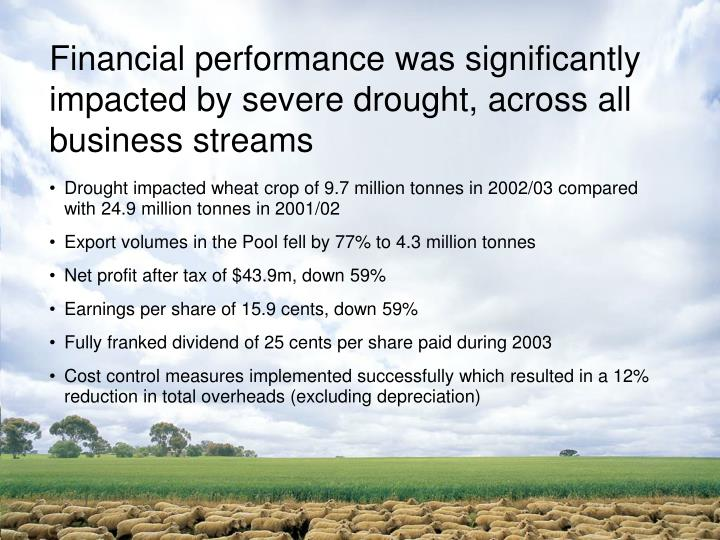 Financial performance was significantly impacted by severe drought, across all business streams