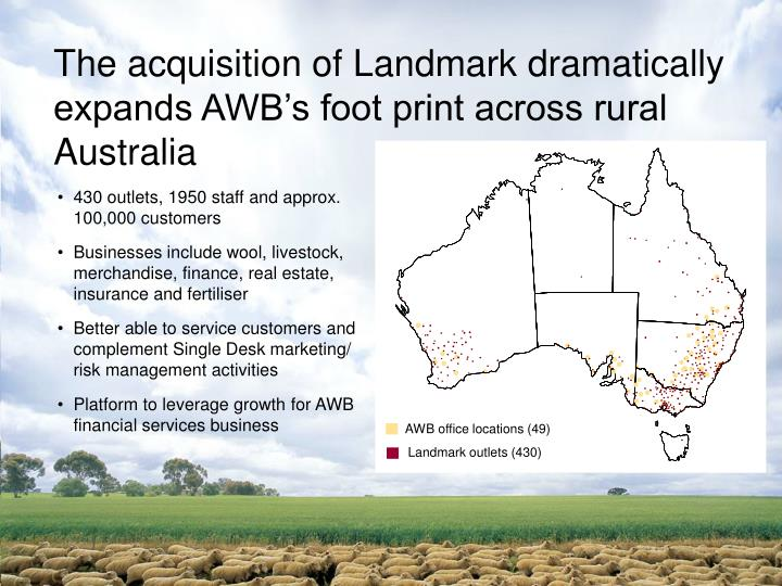 The acquisition of Landmark dramatically expands AWB's foot print across rural Australia